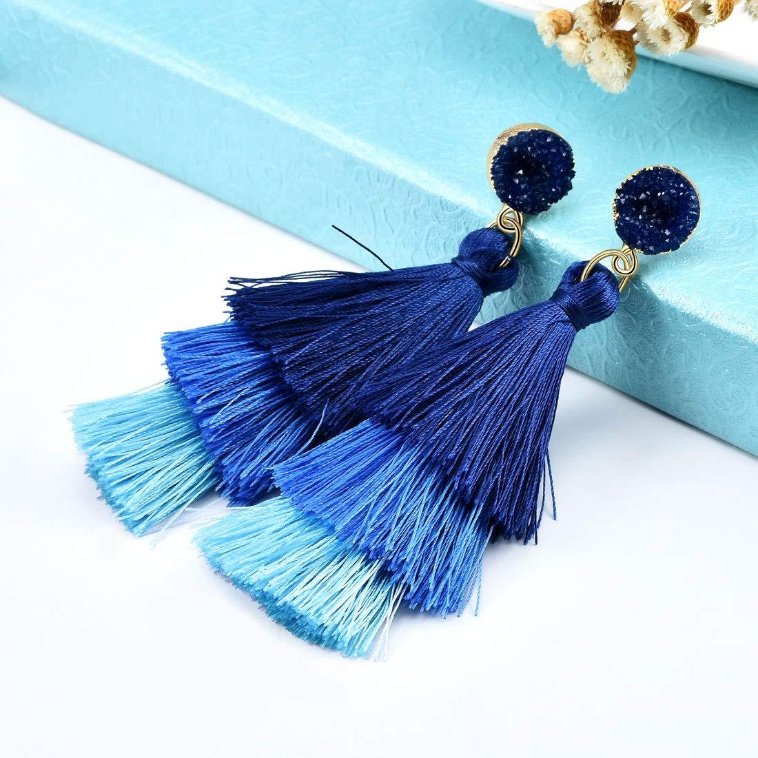 CAT EYE JEWELS CAT EYE JEWELS Colorful Tassel Earrings Bohemian Dangle Drop Ball Fan Fringe Tassel Statement Earrings