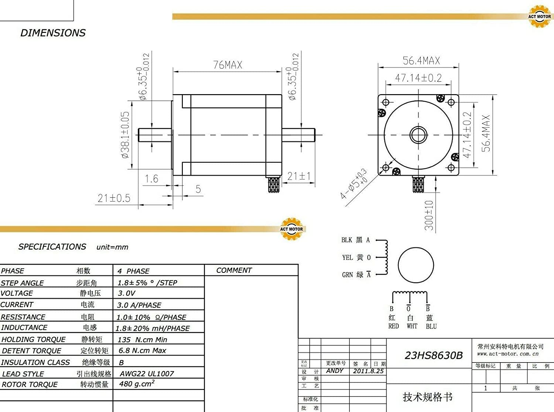 ACT Motor GmbH 3pcs NEMA23/23hs8630b Motor Paso 3.0/a 76/mm 1,45/Nm CNC fr/äsmaschinen M/áquinas Herramientas