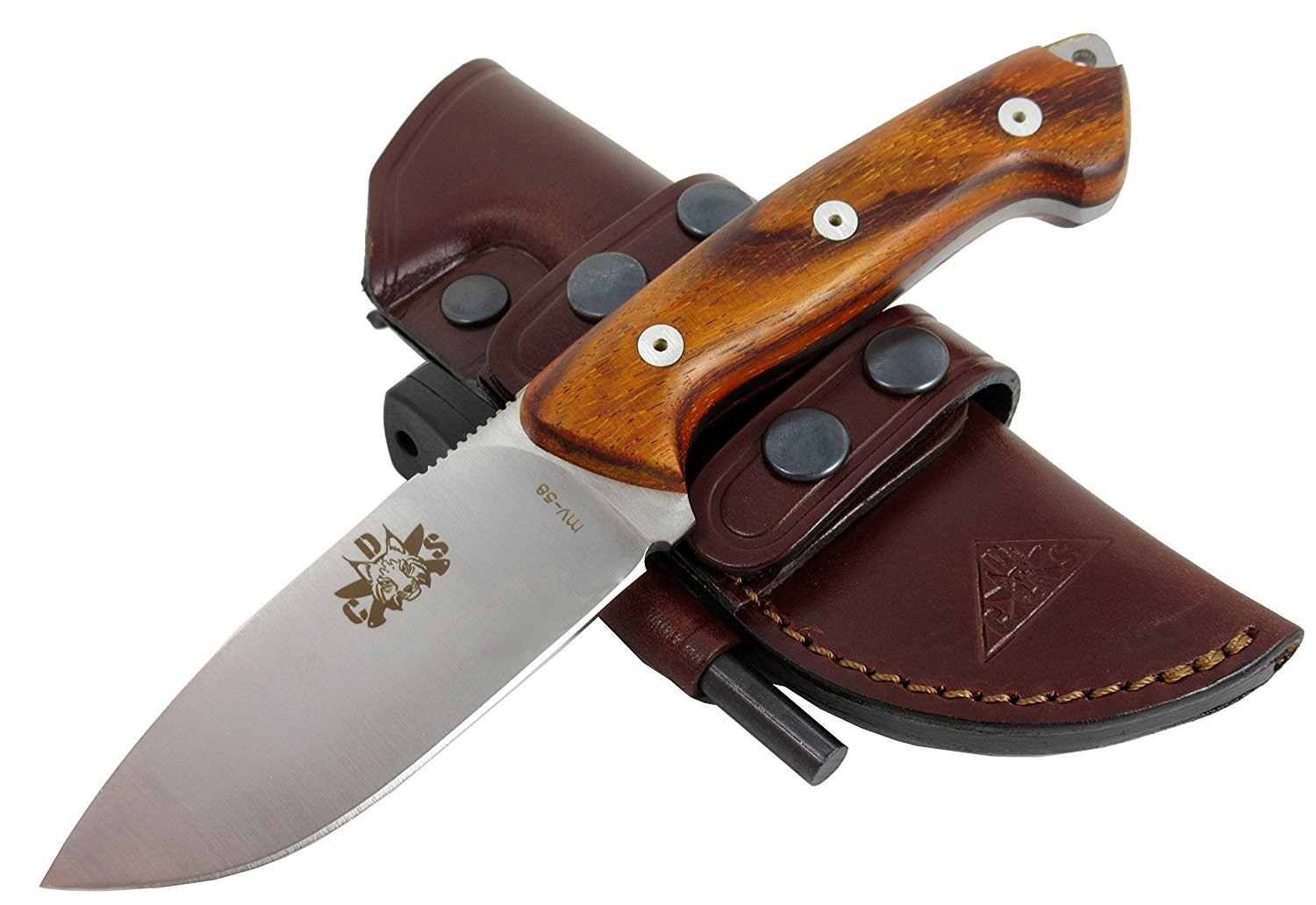 AXARQUIA-Coco - Premium Outdoor/Survival/Hunting/Tactical Knife - Cocobolo Exotic Wood Handle - Stainless Steel MOVA-58, Genuine Leather Multi-Position Sheath + Firesteel. Made in Spain. by CDS-Survival (Image #1)