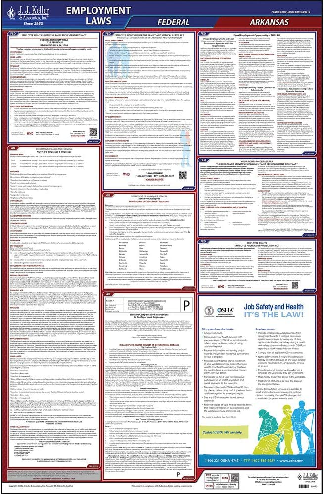 """2020 Arkansas Labor Law Poster, All-In-One OSHA Compliant AR State & Federal Laminated Poster (26"""" x 40"""" English) - Comes with Free Newsletter & Free State Change Alerts - J. J. Keller & Associates"""