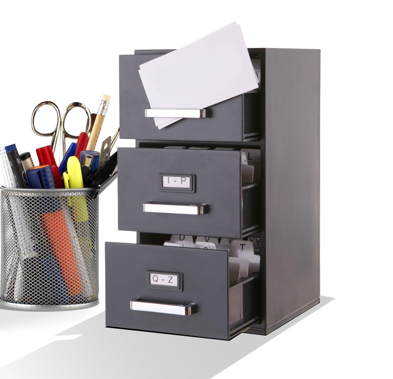 Business Card Index File Mini Desktop Filing Cabinet     9 Inch High Black  3 Drawer Desktop Card Holder For Business Cards (85mm X 55mm):  Amazon.co.uk: ...