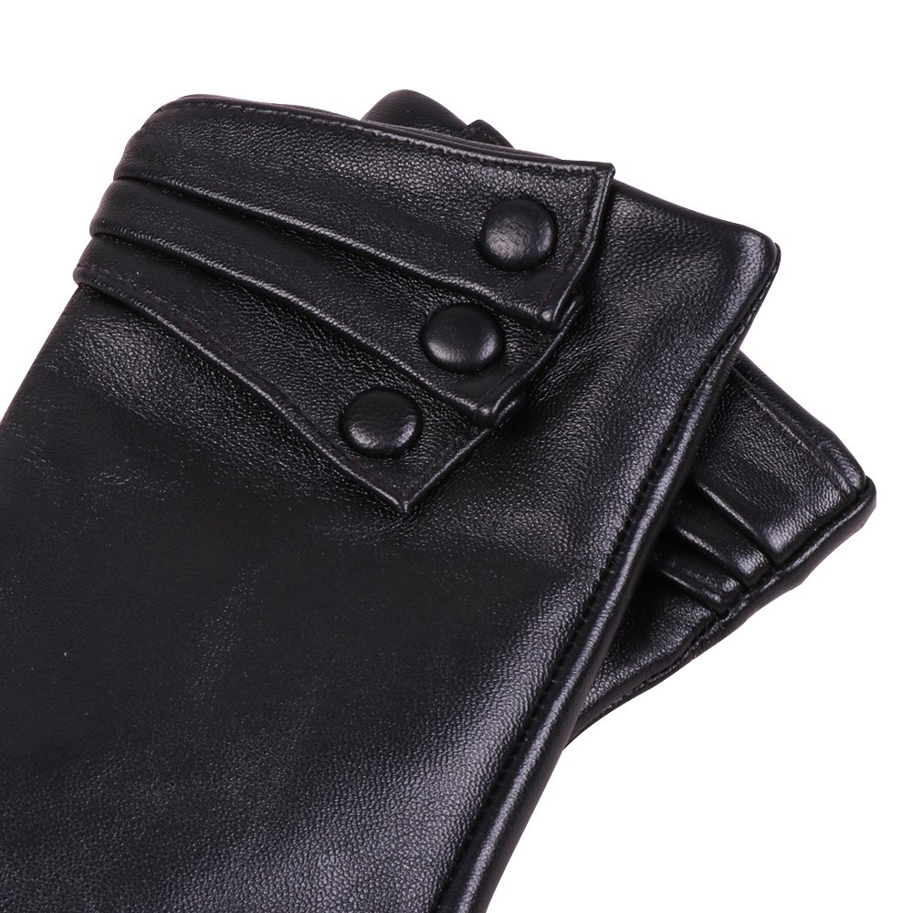 Women Nappa Leather Gloves Nappaglo Warm Lining Winter Button Decoration Imported Leather Lambskin Driving Gloves