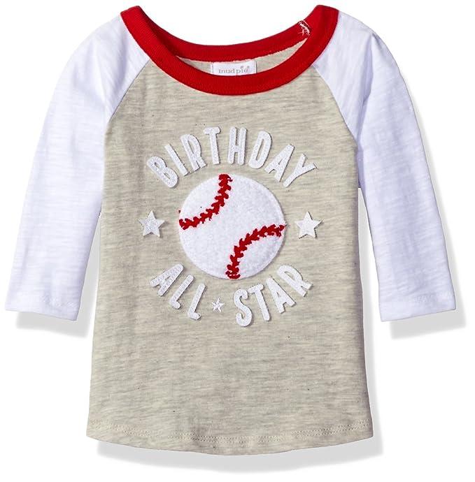 Mud Pie Baby Boys' Raglan T-Shirt, Birthday Baseball 1st, 12-