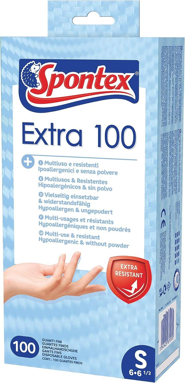Gr/ö/ße S Spontex Extra 100 Einmalhandschuhe aus Vinyl, ungepudert, besonders hautvertr/äglich und rei/ßfest 1 x 100 St/ück