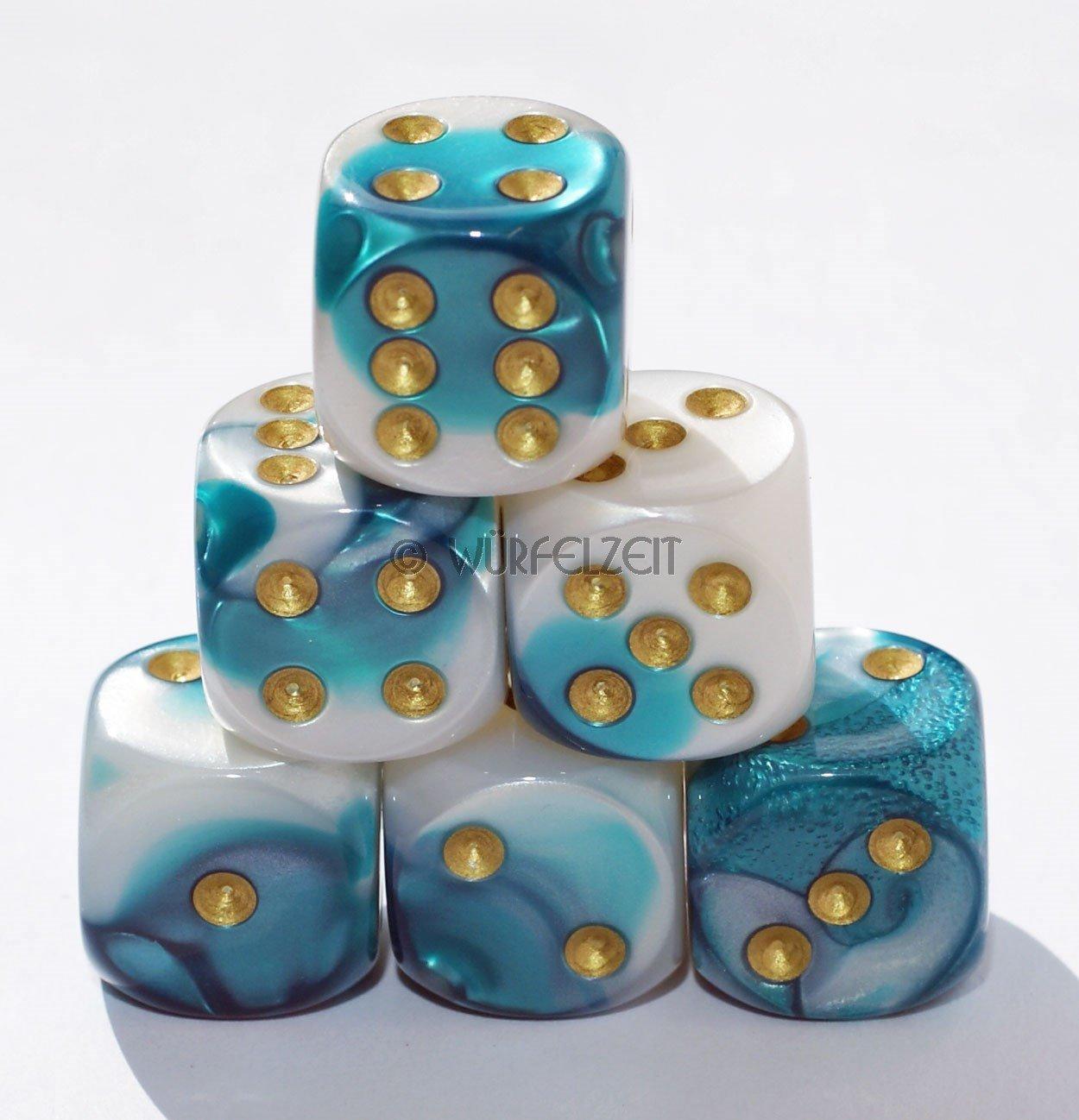 Würfelzeit 7253 - Würfel w6 16 mm, Alyen eisblau m/gold (12er Set in Klarsichtbox)