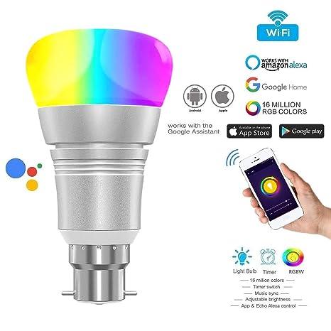 Bombilla LED B22, WIFI Alexa B22 11W, Alexa Voice Smart Bulb Light Teléfono móvil