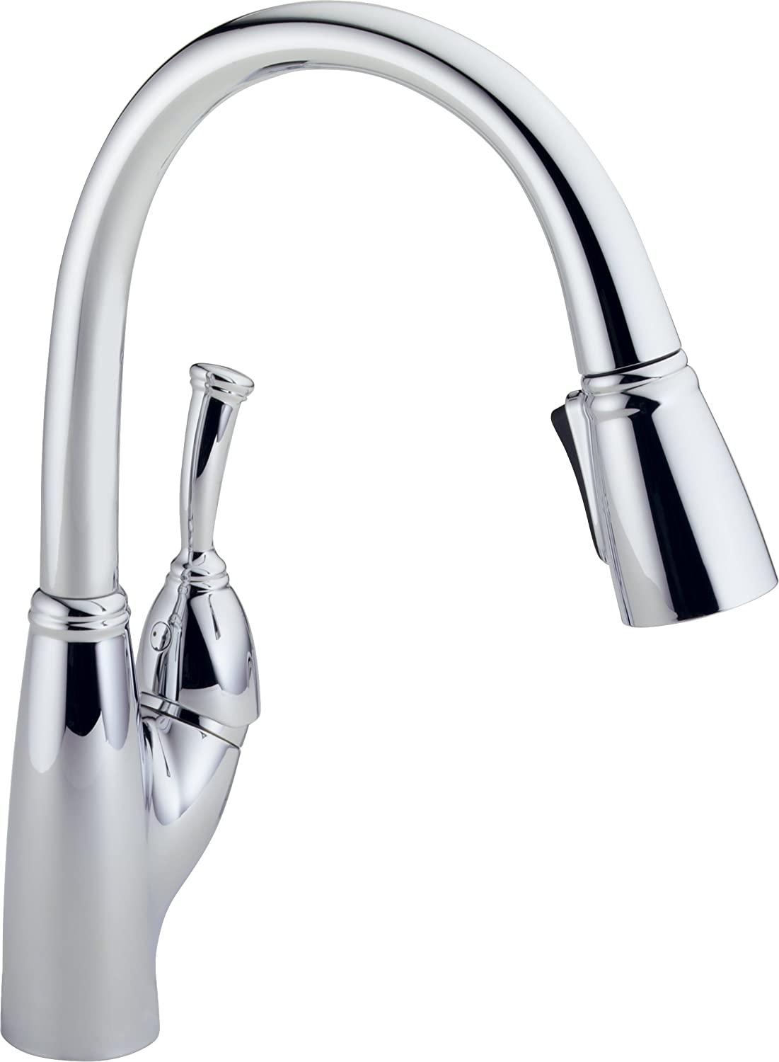 Delta 989-DST Allora Single Handle Pull-Down Kitchen Faucet, Chrome ...