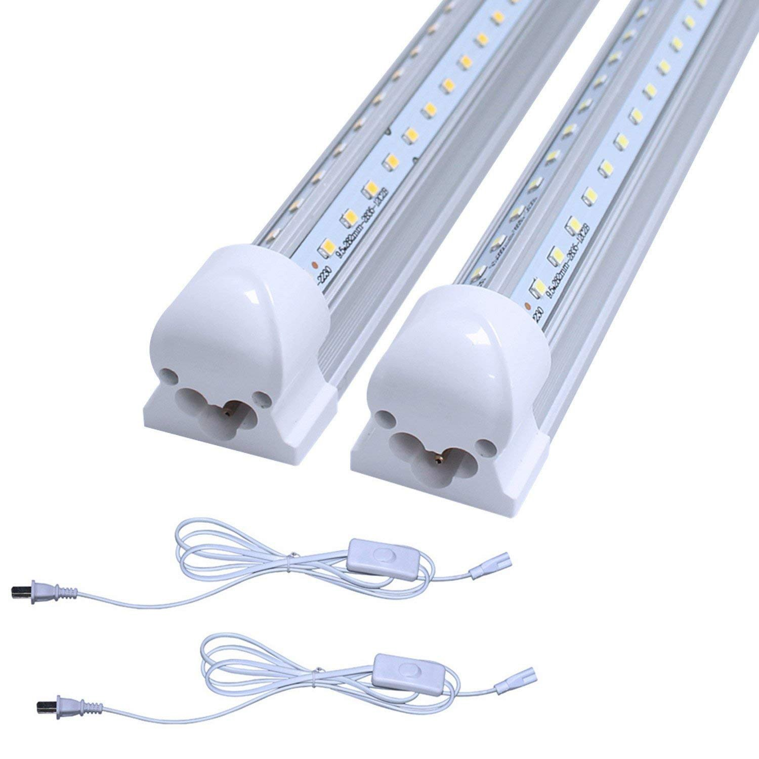 (Pack of 2) CNSUNWAY LED T8 V-Shape Integrated Single Fixture, 2FT, 1680lm, 6500k White, 14W, Utility Shop Light, Ceiling and Under Cabinet Light, Corded Electric with Built-in ON/Off Switch