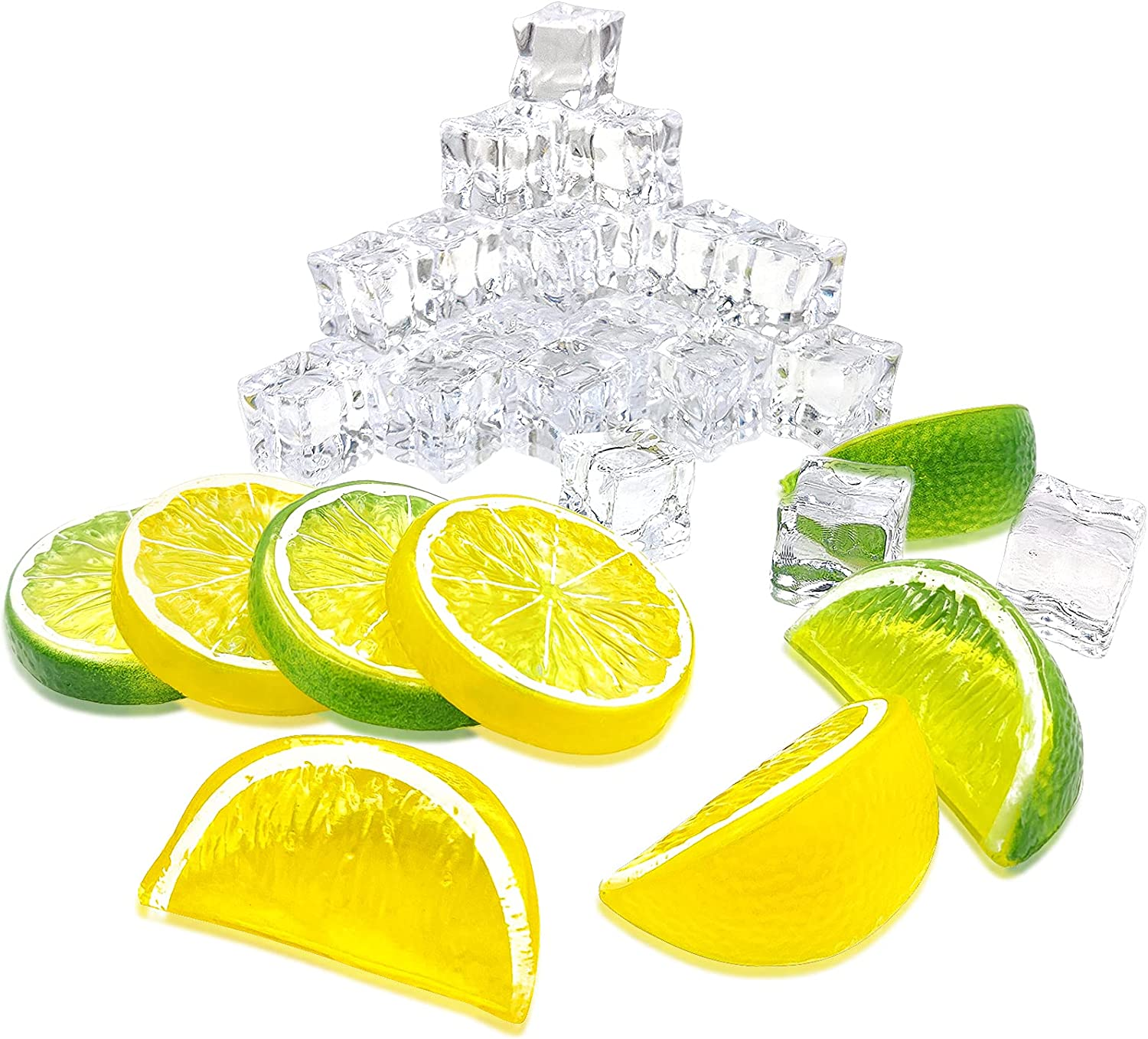 Fake Lemons Slices Blocks and Acrylic Ice Cube Set - Pack of 38 Creative Decorative Items - Artificial Decorations for Home Kitchen Office Weddings Table Centerpiece Party with Lemon Tree Decor Theme