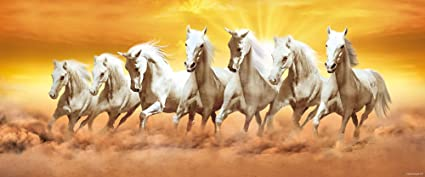 Walls And Murals Vaastu Paintings For Home - 7 Running Horses (Large) - Original Artist Work ( Copyright Protected), 20 X 48
