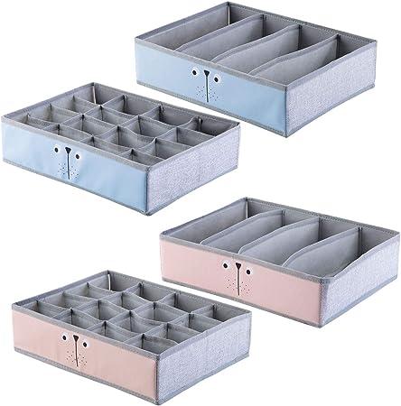 ShinePine Organizador de Ropa Interior, Cajas de Almacenamiento de Ropa Interior, para Sujetadores, Calcetines, Corbatas y Bufandas, Organizador de Tela Plegable Paquete de 4 (40 Celdas, Rosa y Azul): Amazon.es: Hogar