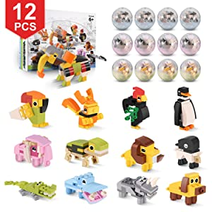 QQPOW Toy Party Favors for Kids Mini Animal Building Block,12PCS Toys Set for Boys Girls,Fillers Carnival Prizes,Birthday Gift,School Rewards