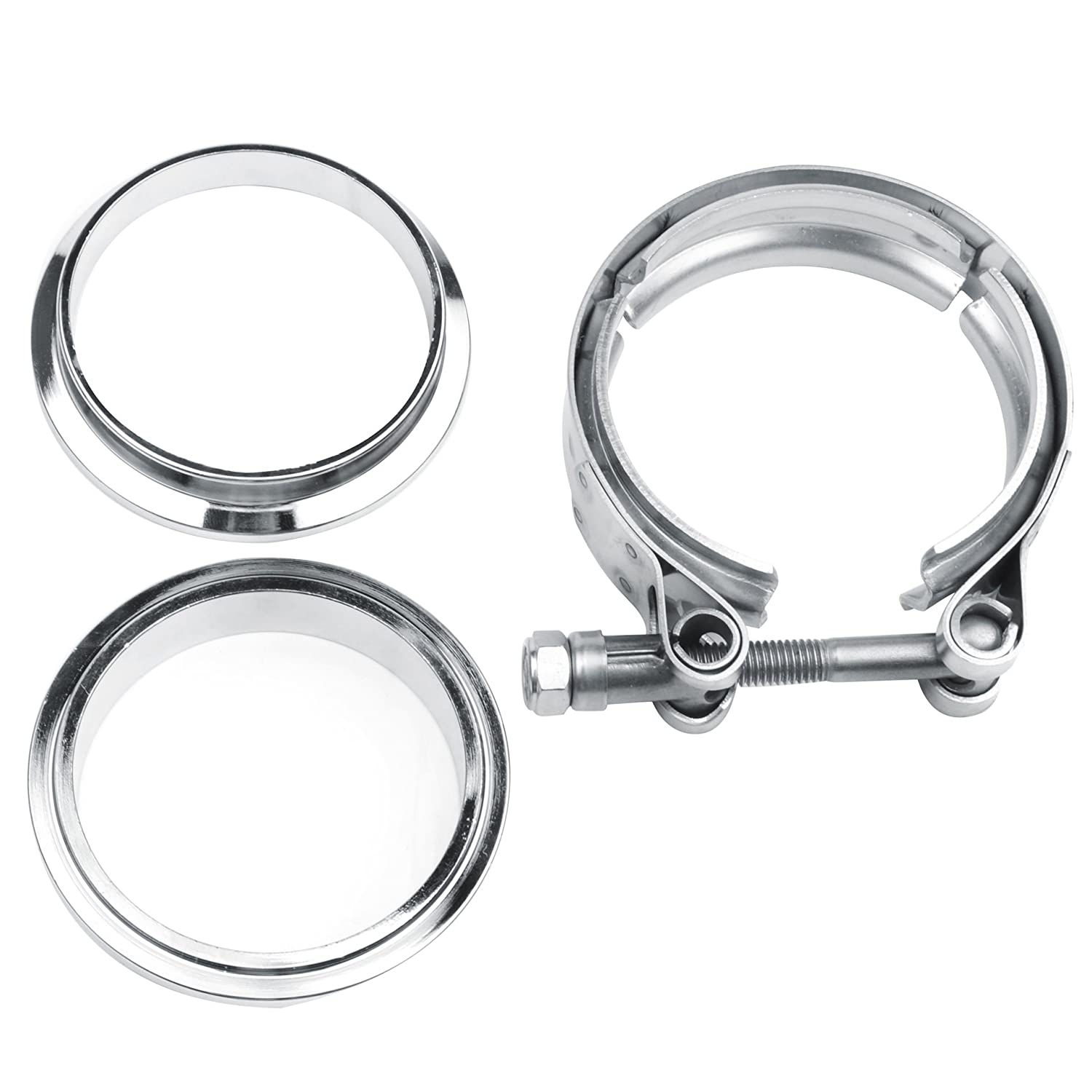 Turbo Exhaust Ring: 2.5'' V-Band Flange & Clamp Kit For Turbo Exhaust