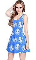 CowCow Blue Octopus Short Sleeve Skater Dress, Blue - 2XL
