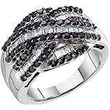 0.75 Carat (ctw) 14K Gold Round Cut Black & Baguette Cut White Diamond Ladies Right Hand Band 3/4 CT