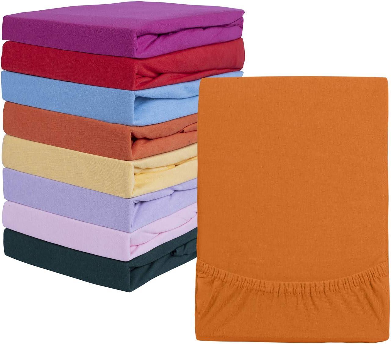 Drap-housse en jersey classique dans de nombreuses couleurs modernes et 6 tailles 100 /% coton 90x200 bis 100x200 cm terra 100 /% coton