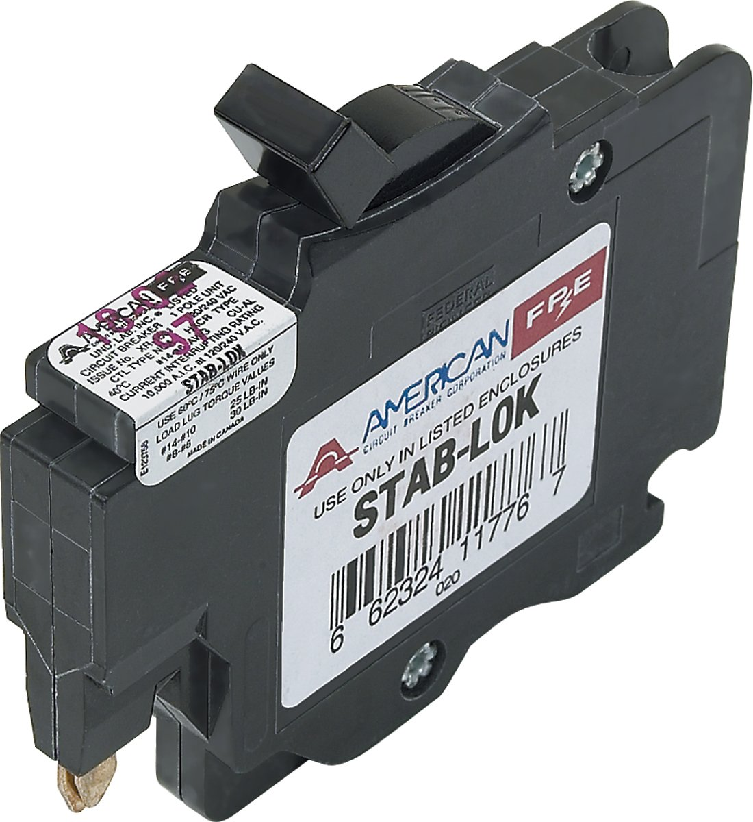American Federal Pacific Circuit Breaker 1 Pole 15 Amp Thin Series Electrical Breakers Load Centers Fuses Panels Magnetic