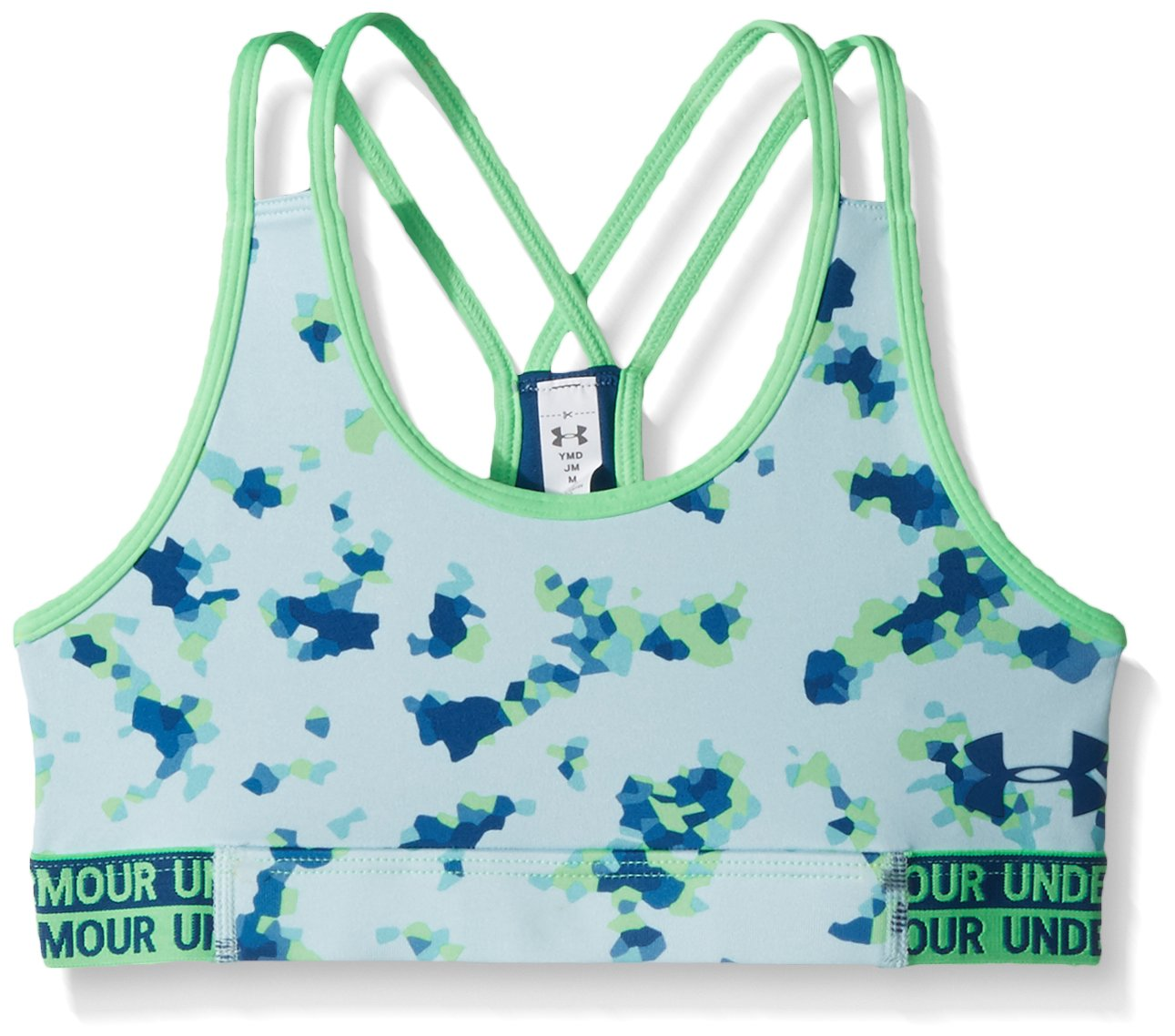 Under Armour Girls' HeatGear Armour Printed Bra, Refresh Mint /Moroccan Blue, Youth X-Small