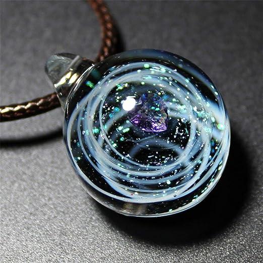 FXXUK Galaxy Colgante, Collar, Pareja, Corazón, Planetas ...