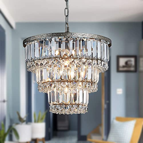 Saint Mossi Chandelier Modern K9 Crystal Raindrop Chandelier Lighting Flush Mount LED Ceiling Light Fixture Pendant Lamp for Dining Room Bathroom Bedroom Livingroom 5 G9 Bulbs Required H12 X D14