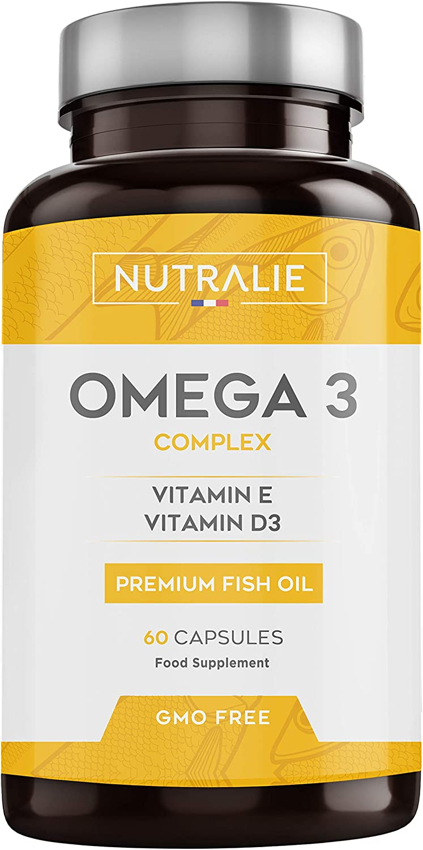Omega 3 2000mg + Vitaminas D3 y E   1250mg EPA-DHA por Dosis   Aceite de Pescado Altamente Concentrado 60 Cápsulas   Nutralie