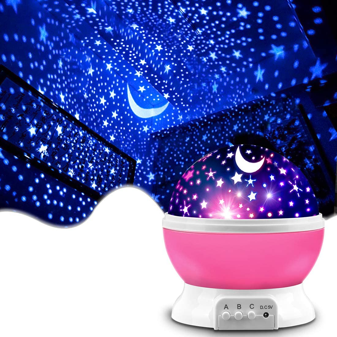 Star Projector, MOKOQI Night Light Lamp Fun Gifts for 1-4-6-14 Year Old Girls and Boys Rotating Star Sky Moon Light Projector for Kids Bedroom Decor (Pink): Home & Kitchen
