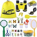 AK KYC Kids Outdoor Explorer kit & Bug Catcher Kit with Binoculars, Flashlight, Compass, Magnifying Glass, Critter Case and B