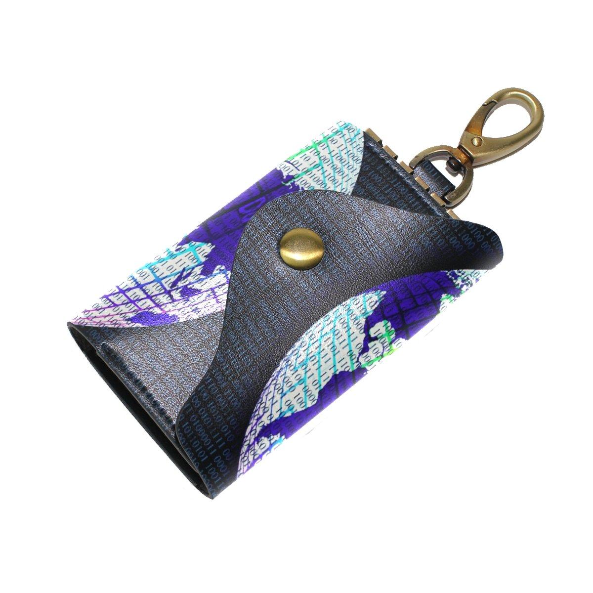 DEYYA Computer Number Leather Key Case Wallets Unisex Keychain Key Holder with 6 Hooks Snap Closure