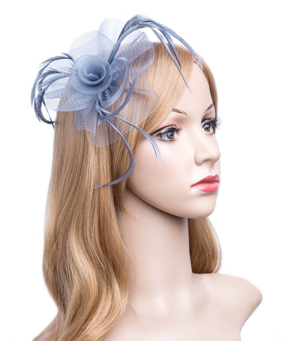 Kathyclassic Fascinator Hats for Women Feather Cocktail Party Hats Bridal Kentucky Derby Headband (Z-Grey)