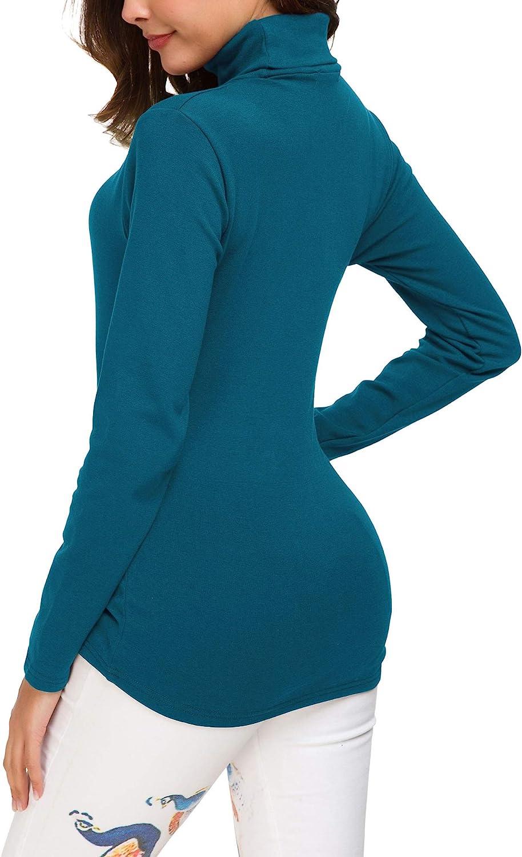 EXCHIC Damen Basic Langarm Slim Fit Rollkragen Sweatshirt