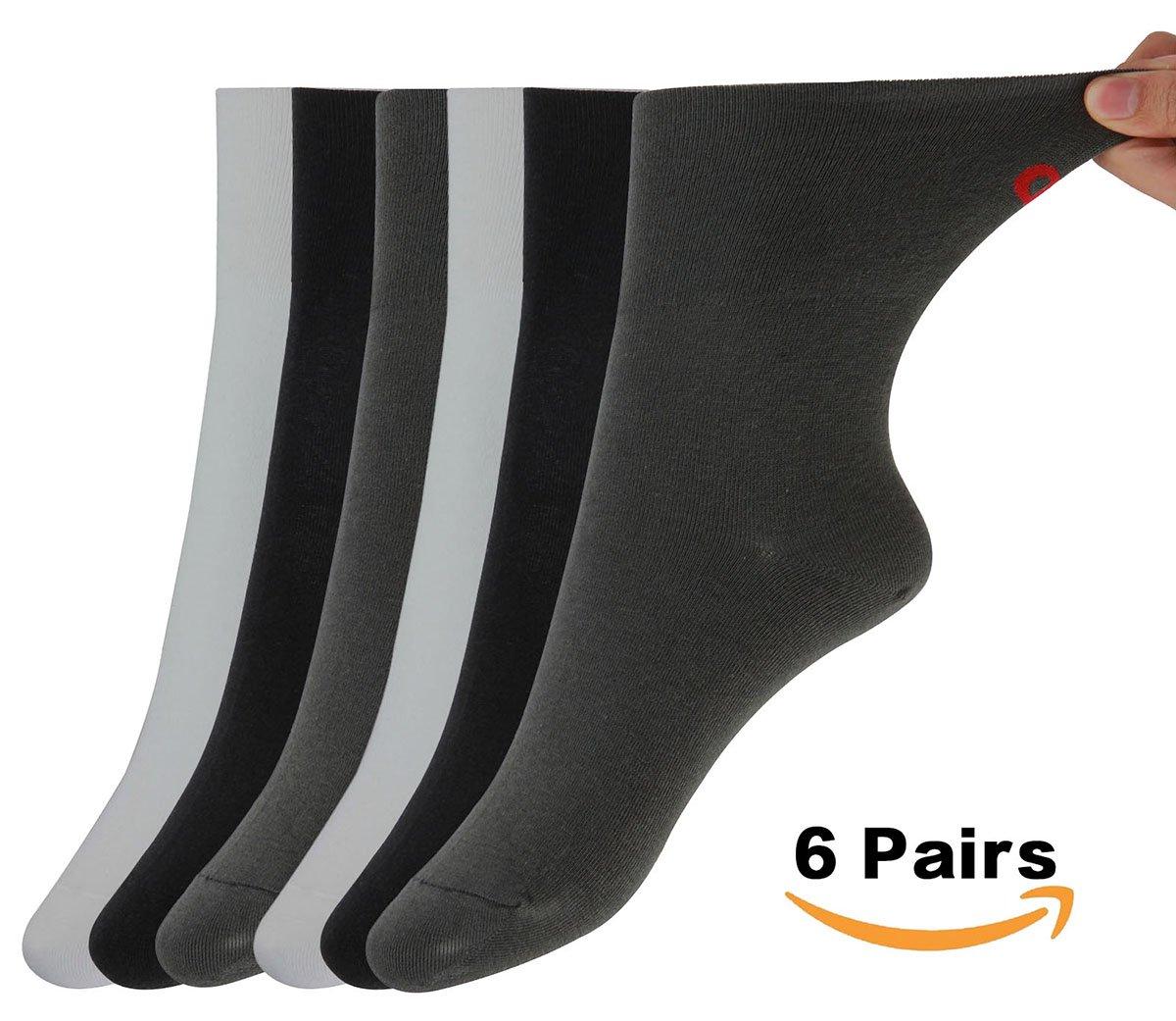 MD Non-Binding Diabetic Socks Mens and Womens Circulatory Antibacterial Quarter Socks Loose Fit 6 Pack 9-11 2Black/2White/2Grey