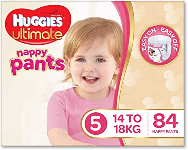 Huggies Ultimate Nappy Pants, Girls, Size 5 Walker (14-18kg), 84 Count