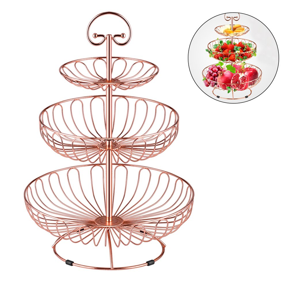 3 Tier Metal Wire Fruit Vegetable Basket Tower Decorative Fruit Basket Countertop Stand Kitchen Counter Produce Organizer with Top Handle (Rose Gold) yongyi