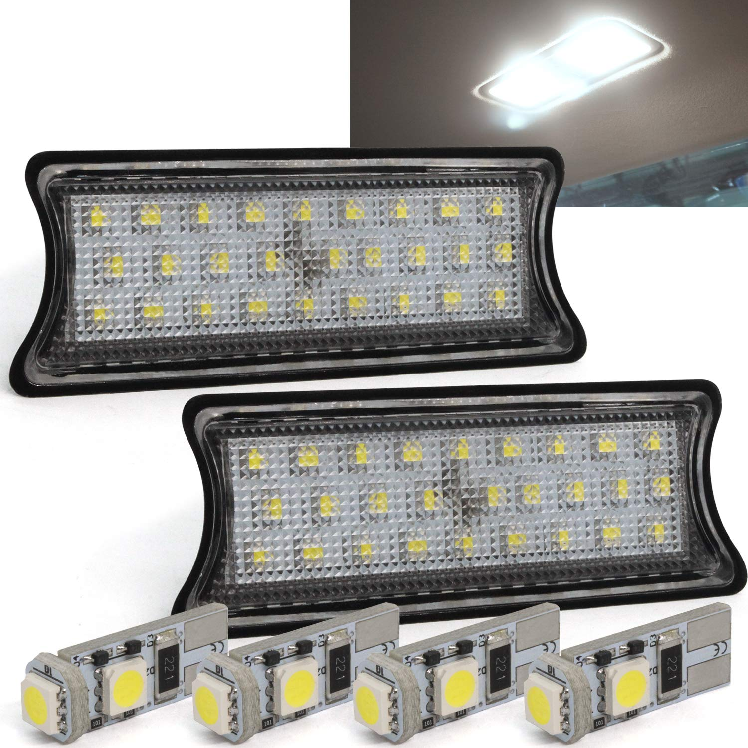 LED License Plate Lamps,YuanGu 18 LED Xenon White Rear License Tag Lights Rear Number Plate Lamp CE Mark CANBUS Free Error Fit for F//ord Fiesta Focus Mondeo Kuga Galaxy