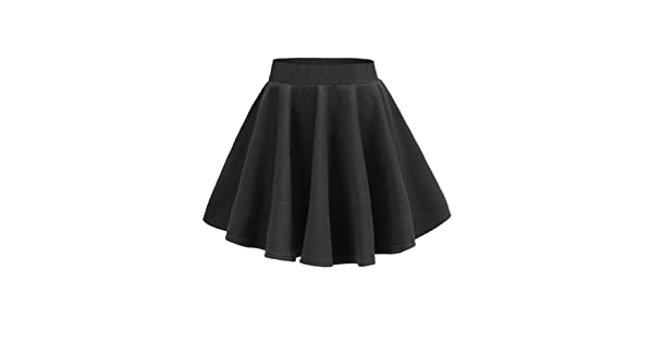 d1208ea9a4ae v28 Junior Girls High Waist Stretch Waist Flared Plain Pleated Skater Mini  Skirt (Black)