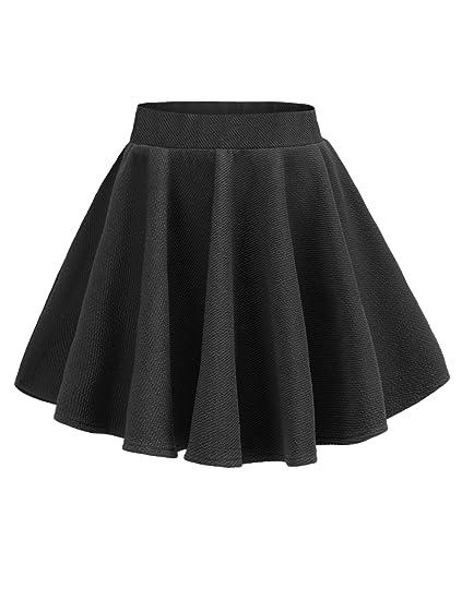 f373677d2 v28 Women Girls Stretch Waist Flared Plain Pleated Casual Mini Skater Skirt  (XS, Black