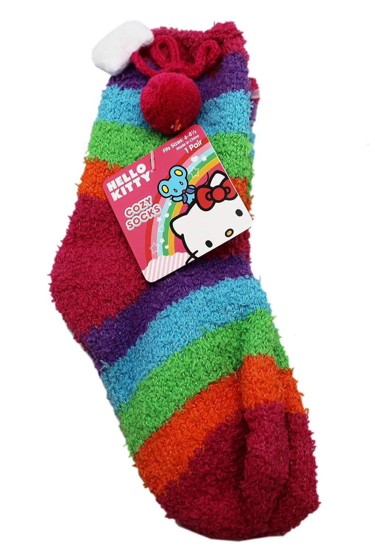 Hello Kitty Fuzzy Cozy Dark Colorful Striped Kids Socks 1 Pair, Size 6-8.5