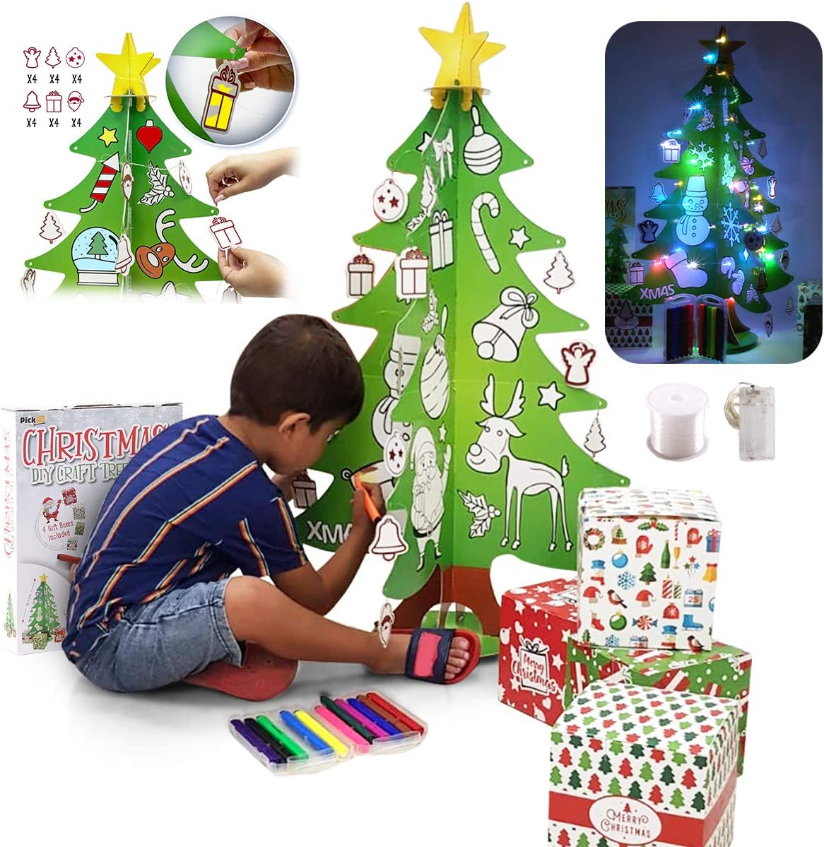 4 Gift Boxes 6Pcs 2.95ft PICKME DIY Craft Christmas Tree for Kids 3M LED Strip Light Mini 3D Coloring Xmas Tree with 24 Ornaments for Home /& Classroom 12 Washable Markers