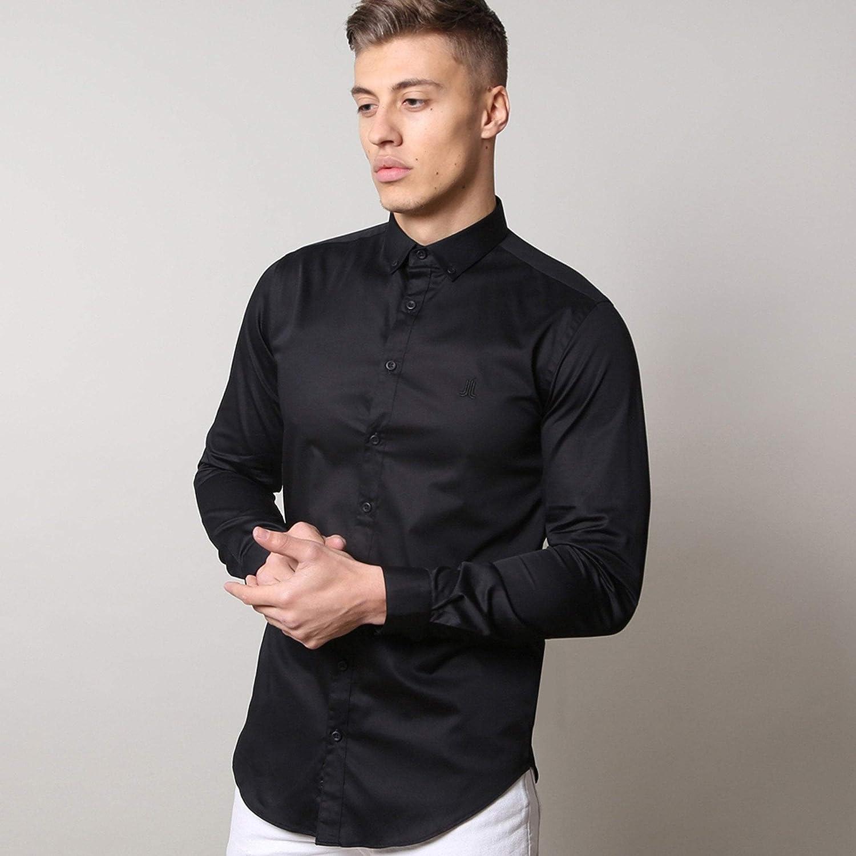 noir XL Life and Limb Manches Longues Stretch Satinette Pour des hommes Shirt avec Boutons De Contraste