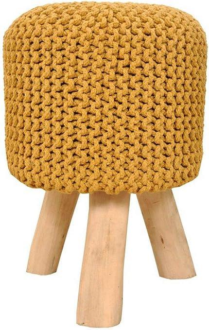 Sitzhocker Strick Hocker Pouf Schemel mit Holzfüßen Ø 35 cm Höhe 45 cm Farbe zitronengelb