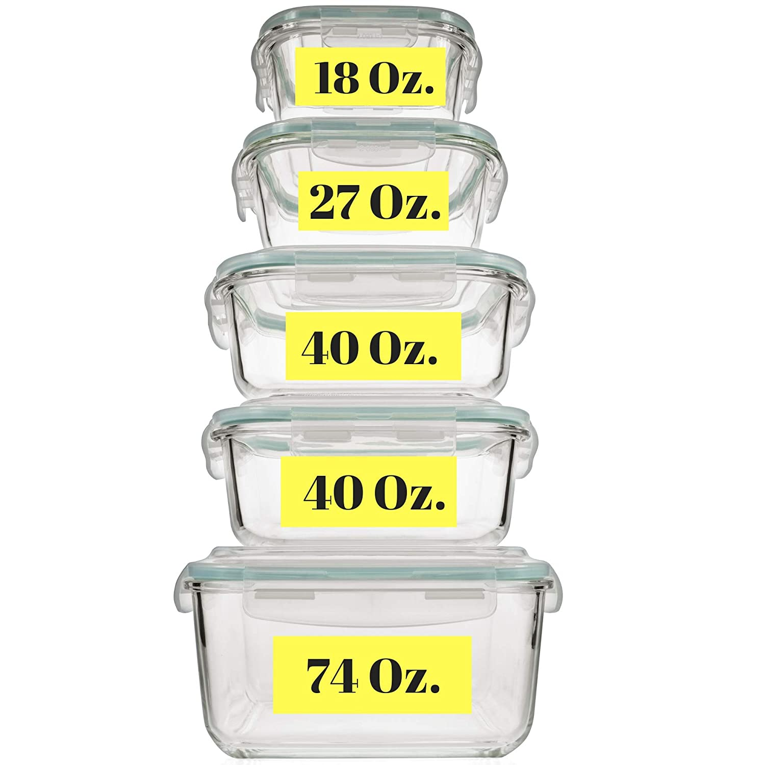 Extra Large & Assorted sizes Glass Food Storage Containers with Airtight Lids 10 Pc [5 containers with lids] Microwave/Oven/Freezer & Dishwasher Safe. BPA/PVC Free. Reusable Square container set