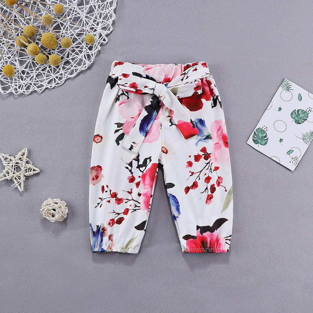Infant Baby Girl Clothes Long Sleeve Romper Jumpsuit Ruffle Bodysuit Floral Pants Outfits with Headband 3Pcs Sets