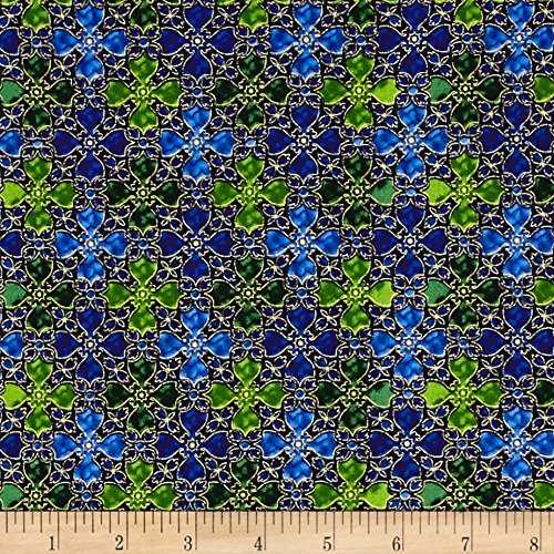 In Bethlehem Metallic Stained Glass Royal Blue Fabric By The Yard - Stained Glass Fabric