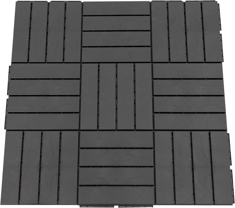 Outsunny Baldosas Cuadradas para Suelos de Exterior 30x30cm Paquete de 9 Piezas para 0.81 m² Negro