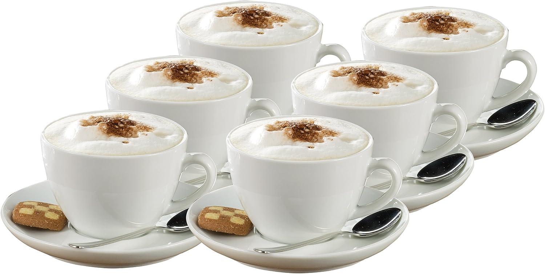 Set da 6 Tazze da Espresso 0,10 l Altezza 5,8 cm Bianco Manico a Forma Rotonda Esmeyer Bistro con piattini Forma Bistro Diametro 11,5 cm
