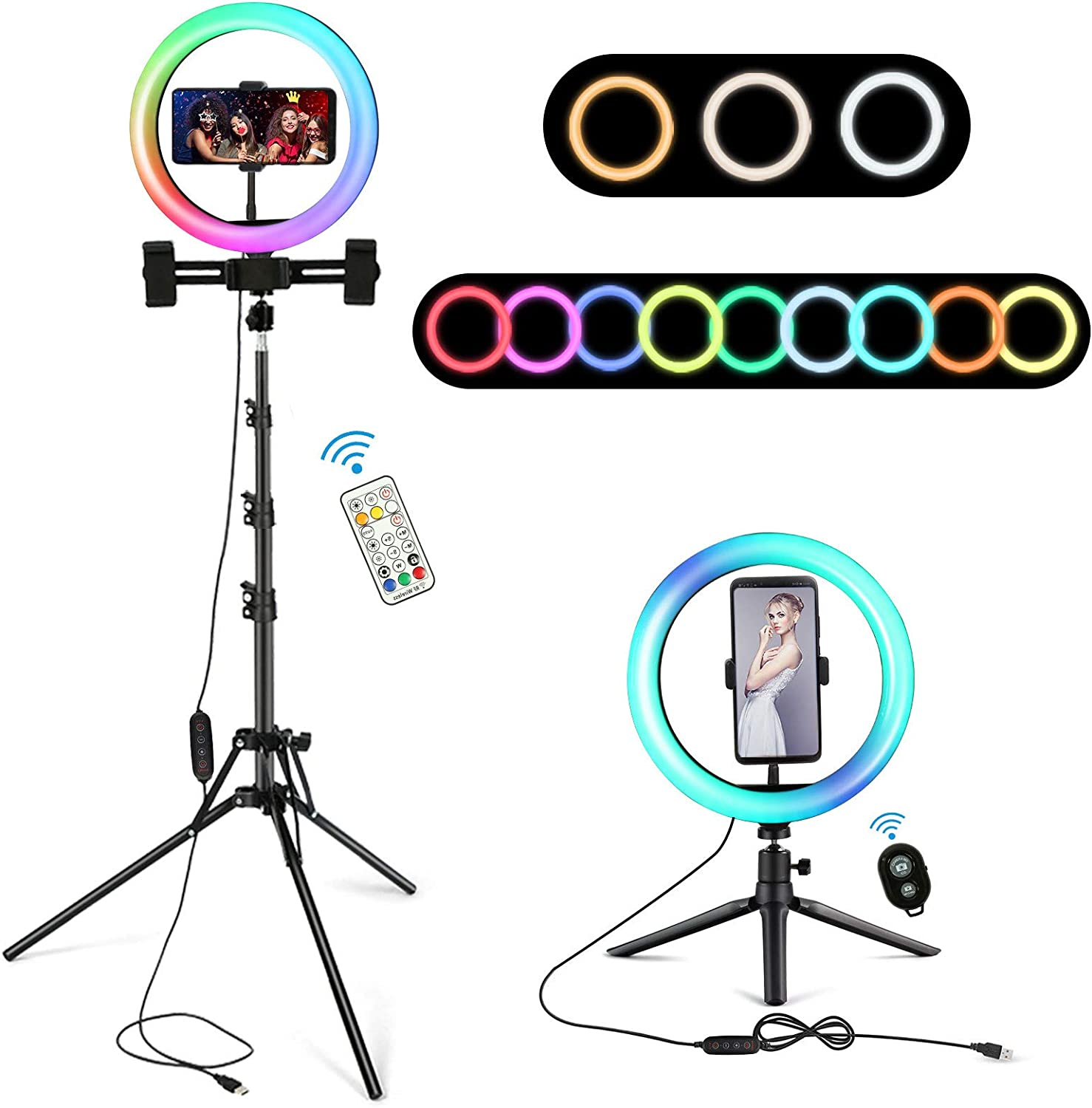 """10"""" RGB LED Ring Light with Stand, Selfie Ring Light with Two Tripod Stand and Phone Holder & 10 Brightness Level & Camera Remote Shutter for TikTok/YouTube/Video/Live Stream/Makeup"""