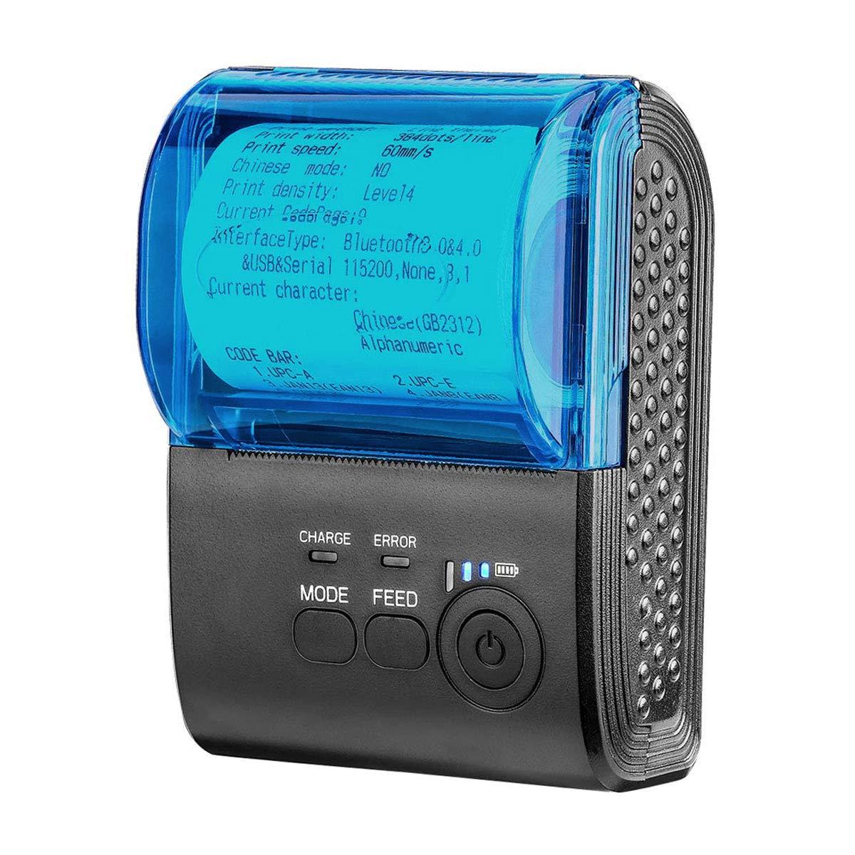 MUNBYN Impresora de Etiqueta Térmica Portáctil, Mini Tiketera de Recibos Inalámbrica Impresora de Tickets Bluetooth 4.0/ USB/COM, Comando ESC/POS ...