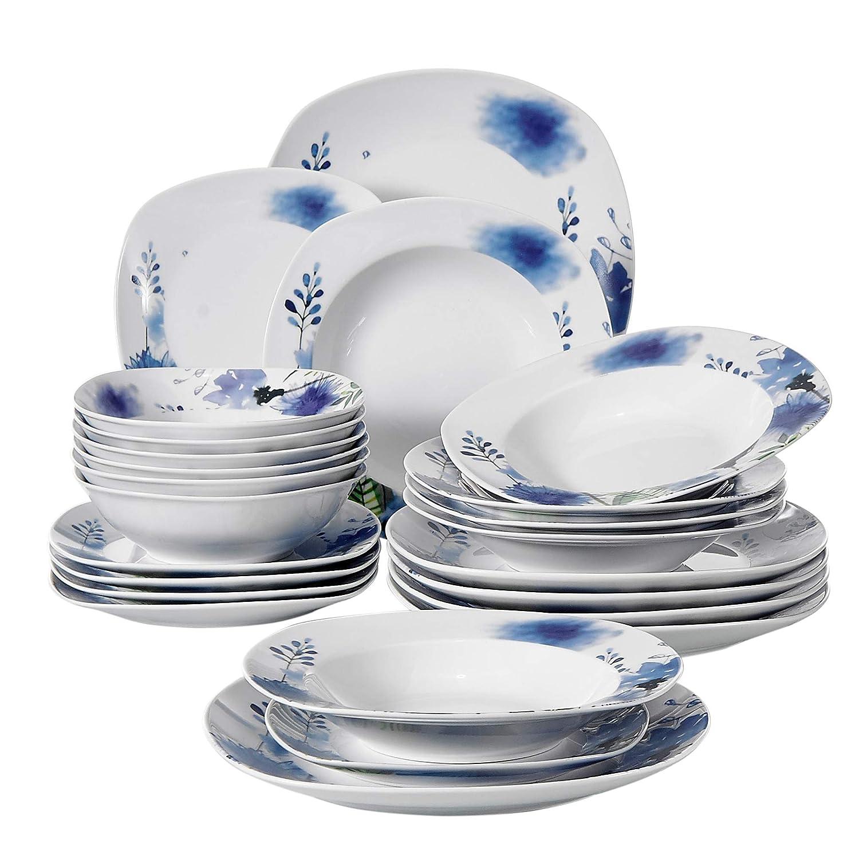 Veweet LAURA 18pcs Assiettes Pocelaine Service de Table 6pcs Assiettes Plates 24,7cm 6pcs Assiette Creuse 21,5cm 6pcs Assiette /à Dessert 19cm Vaisselles C/éramique pour 6 Personnes Cadeau F/ête