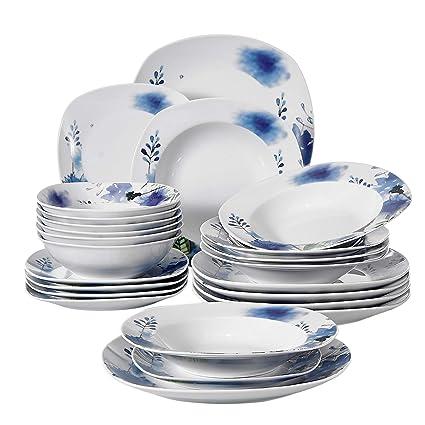 VEWEET 24 Piece Porcelain Dinnerware Set Royal
