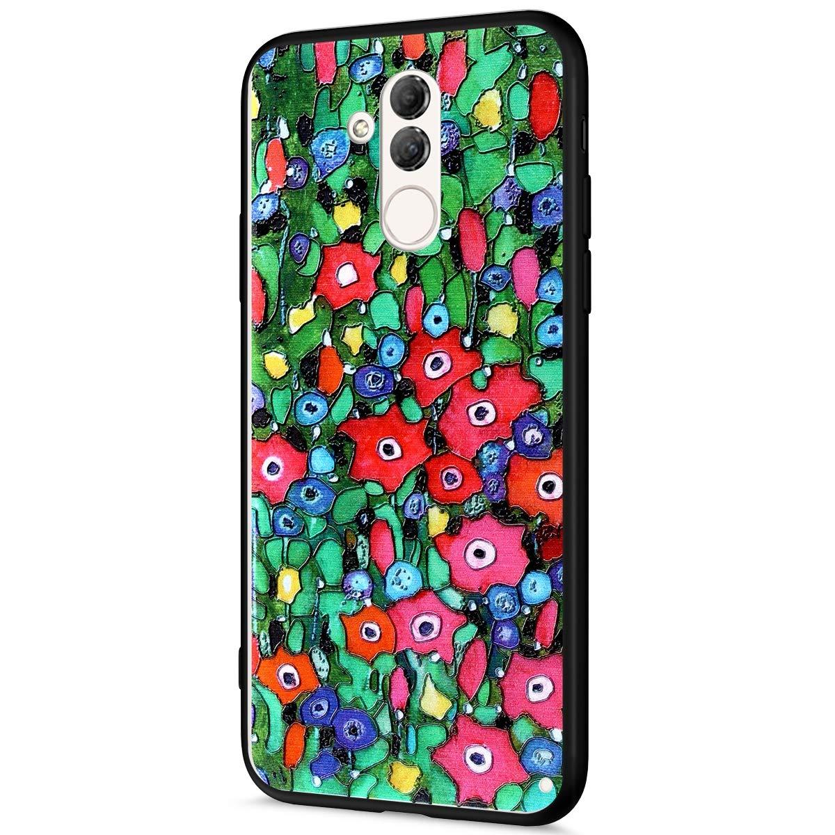 Compatibile con Cover Huawei Mate 20 Lite Custodia Silicone Morbido,Bling Brillantini Fiori Farfalla 3D Painted Pattern Bianca Silicone Cover Ultra Soft TPU e PC Anti-Scratch Slim Case.Cactus